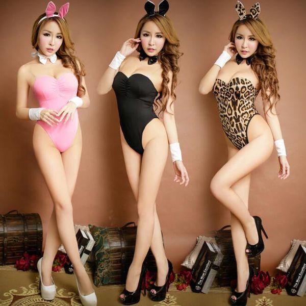 7173f0078d7d Ropa interior del conejo fija la seda de la leche Lencería sexy Leopard  Pink Black Novedad