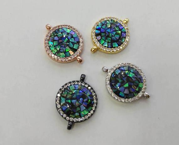 top popular 6pcs CZ Micro Pave Round Disc Evil Eye Connector With Abalone Pearl Shell,Cubic Zirconia CZ Spacer Connetor 16mm 2021