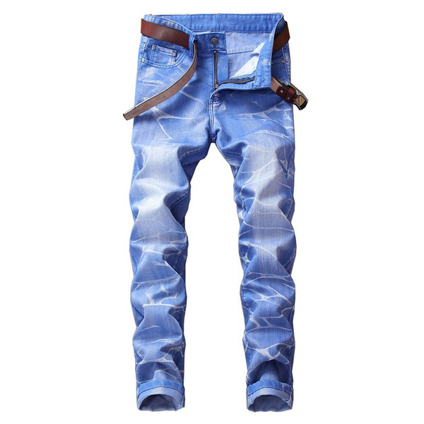 Men jeans European American fashion casual tight Small feet jeans high quality Large size solid color casual pants 28-42