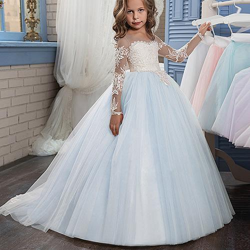 Formal Long Sleeve Princess Gown Lace TUTU Flower Girl Dresses For Wedding Ball Gown Floor Length Hand Made Kids Party Birthday Dress