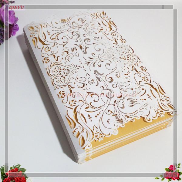 100pcs Vertical Laser Cut White Invitations Cards Kits for Wedding Bridal Shower Birthday 7Z