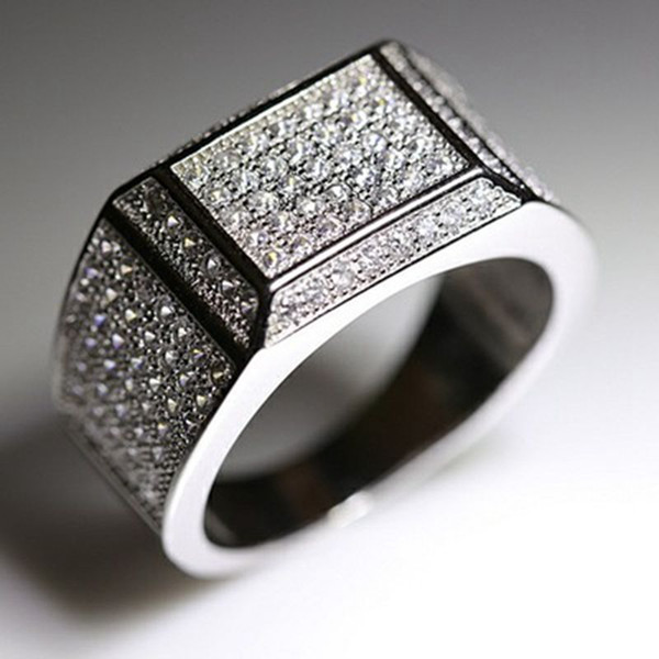 Luxury 18K White Gold Filled Men's Ring Ice Out Clear Zircon Inlaid GF Jewelry