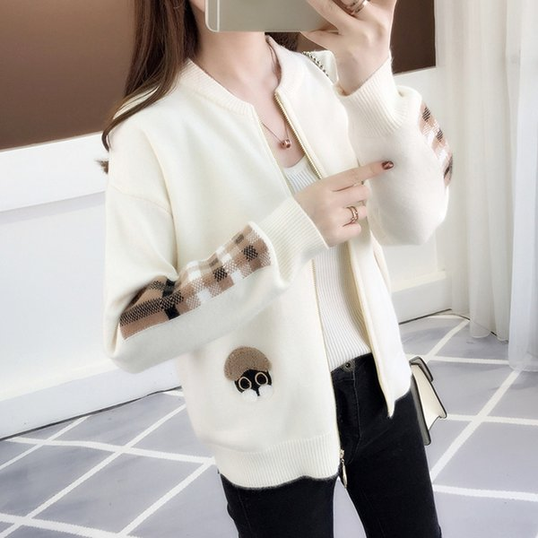 women cardigan sweater zipper 2018 new autumn and winter short trends female knitted coat korean style teenager girl a56