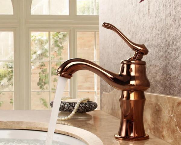 Compre Torneiras De Banheiro Bronze Rose Gold Cor Torneira Latão Bath Mixer Mixer Tap Com Misturador De água Quente E Fria Torneira Da Pia Guindaste