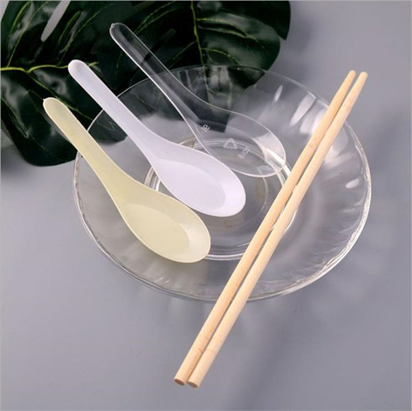best selling High quality Soup Spoons White Plastic Spoon Outdoor Disposable Spoons Dining Food Spoons 8000pcs lot IC907