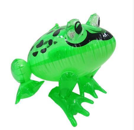 LED şişme çocuk oyuncak şişme hayvan kurbağa açık bebek yüzmek havuzu oyuncak 28x29x36 cm boyutları büyük pvc malzeme çocu ...