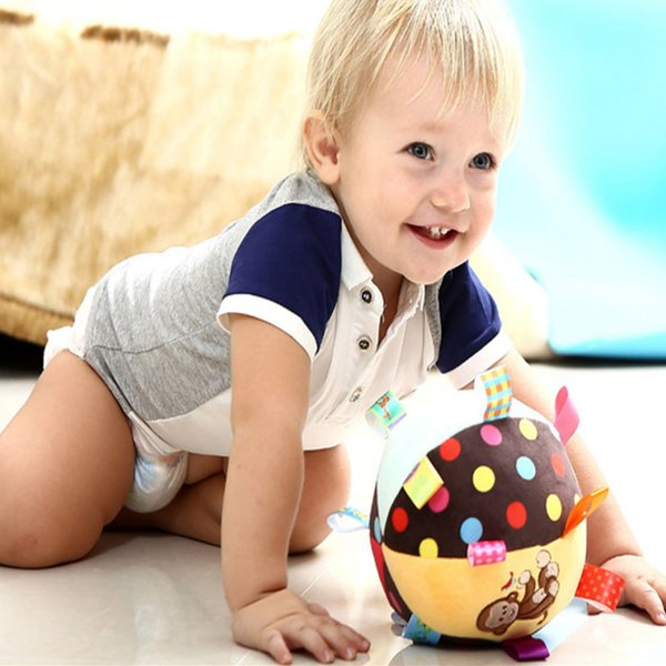 free shipping hot Colorful Baby Children's Ring Bell Ball Baby Cloth Music Sense Learning Toy Ball Educational Cotton Hand Grasp Rattle Ball