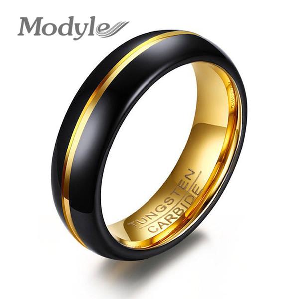 Modyle 2017 nova moda preto e ouro-cor de tungstênio anel de casamento para homens e mulheres jóias 6mm preto anel de carboneto de tungstênio