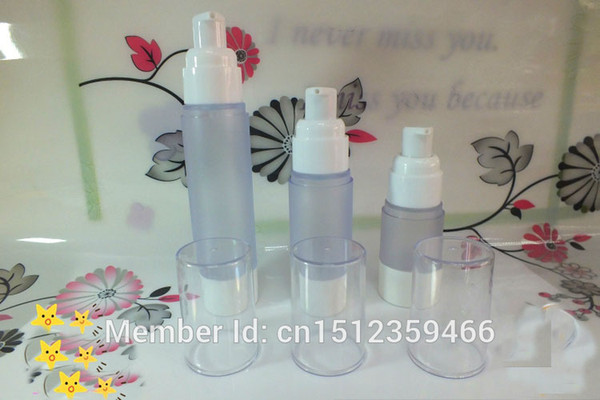 15ML 30ML 50ML Frosted Airless Bottle With Bird Mouth White Edge , Plastic Airless Bottle Cosmetics Packaging, 20 Pieces/Lot
