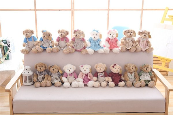 Cute Couple Teddy Bear Plush Toys Couple Bear Wedding Teddy Bears Soft Stuffed Dolls Valentine Day Kids Friends Lovers Gift