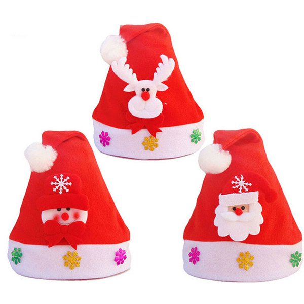 120pcs non woven kids christmas hat with led light cartoon applique santa deer snow pattern hats christmas supplies za4853