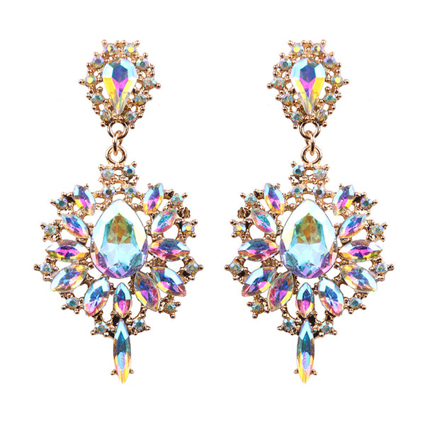 Women Drop Earrings Colorful Flower Big Brand Design Luxury Starburst Pendant Crystal Stud Gem Statement Earrings Jewelry Gifts