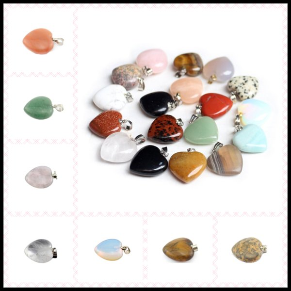 21 Styles 20*23mm Necklace Pendant Natural GemstoneHeart Shaped Energy Balance Reiki Healing Chockers Chakra Beads Crystal Jewelry