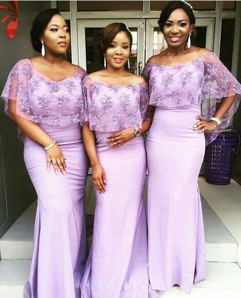 Lavender bridesmaid dresses african style Mermaid Long cape lace bridesmaid dresses long mauve Beautiful Plus Size Maid Of Junior Gowns 2018