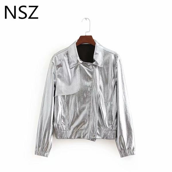 NSZ Women Fall Jacket Shiny Silver Motorcycle jacket Long Sleeve Coat Outerwear