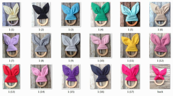 top popular 50pcs Infant baby INS Teethers Teething Ring Natural Wood Circle solid color Rabbit Ear cotton Teeth Practice Toys Handmade Ring YE013 2020