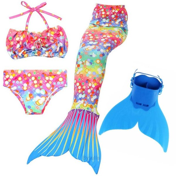 4PCS/Set 2018 Newest Kids Children Mermaid tail With Monofin Swimmable Girls Swimsuit Mermaid Tail Costume Cosplay for Swimming