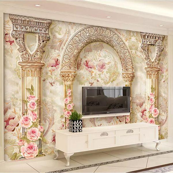 Custom Mural Wall Paper 3D European Style Flower Pattern Marble Pillar Living Room TV Background Wall Home Decor Art Wallpaper
