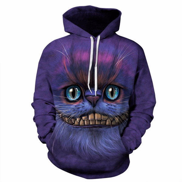 Thin Stylish 3d Sweatshirts Men/Women Hoodies With Hat Print Cheshire Cat Casual Hooded Autumn Winter Tracksuit Streetwear Tops