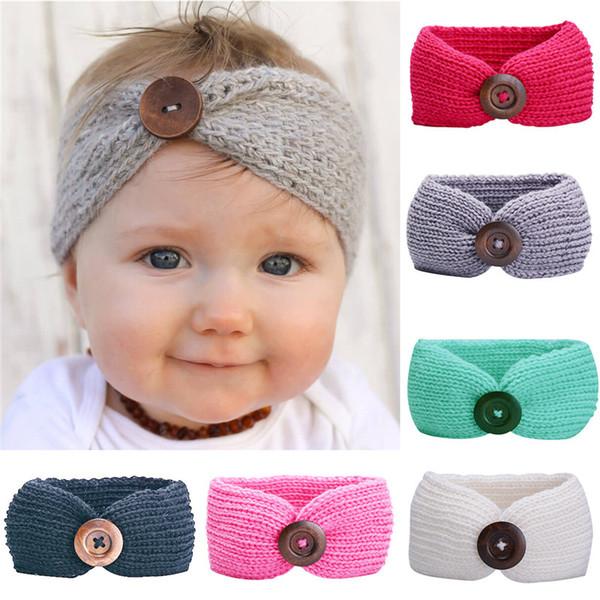 INS Baby Girls Wool Crochet Headband Knitted Hairbands With Button Decor Princess Winter Beanie Newborn Infant Ear Warmer Head Headwrap Cap