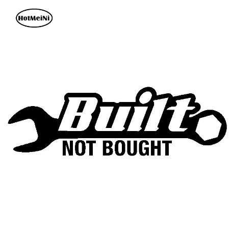 HotMeiNi 20.4x6.4cm Built Not Bought V2 Car Sticker Decal JDM Racing Drift Hoonigan Stance illest Turbo Black/Sliver
