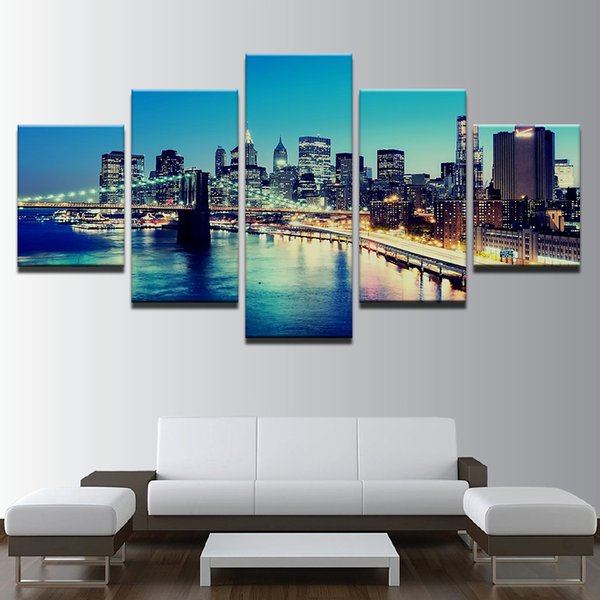 Frame Pictures Vintage Home Decoration Paintings On Canvas 5 Panel New York City Night View Landscape Posters And Prints On The Wall