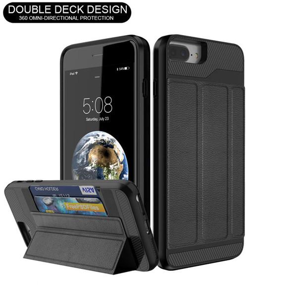 Kart Yuvası Cüzdan Kılıf Katlanır Kapak Braketi Telefon Kılıfı Darbeye Koruyucu Kılıflar iPhone X 8 7 6 Artı Samsung Note8 ZTE Z982