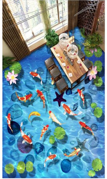 En gros-3d pvc plancher imperméable à l'eau Autocollant 3d personnalisé peintures murales papier peint