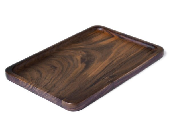 Wooden Serving Tray - Rectangular Medium Size Black Walnut Wood Serving Trays Fruit Dessert Tea Plates - 34cm x 23cm Home Wine Decor