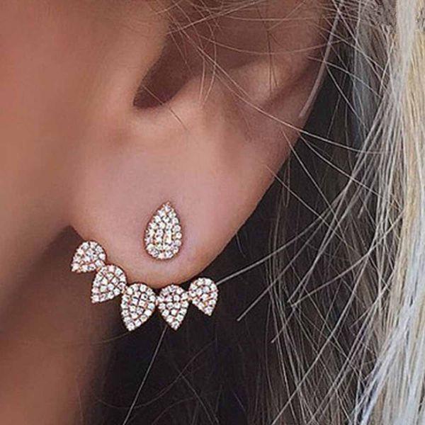 2017 Nuevo Hot Drop Cristales Stud Pendiente para Las Mujeres de color oro de Doble Cara Joyas de Moda Pendientes Ear oído brincos