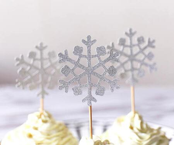 glitter silver Christmas snowflake winter wedding cupcake toppers birthday Anniversary party decoration doughnut food picks