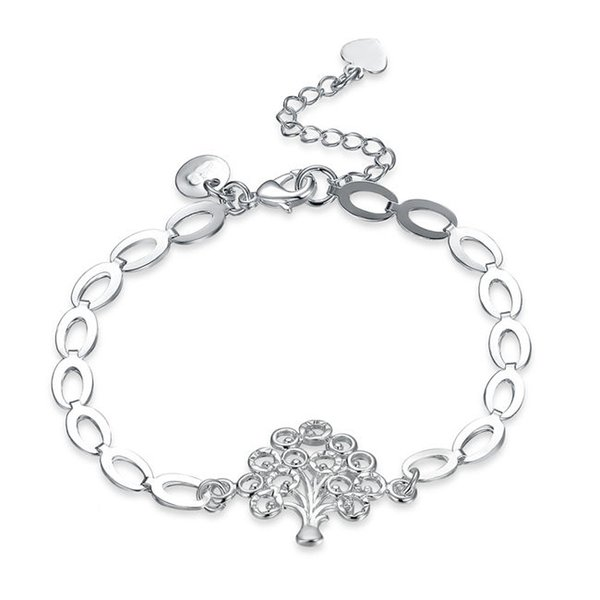 New arrival!The pendant chain of the tree of life925 silver bracelet JSPB574;low price girl women sterling silver plated Charm Bracelets