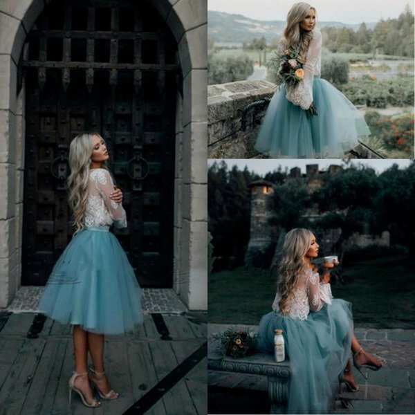 Cheap Prom Dresses Two Pieces Illusion Top Lace Tulle Short Sexy Knee Length Long Sleeve Evening Dress Usa latest fashion formal gowns