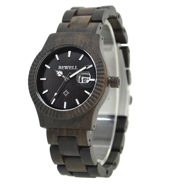 garçons montre à quartz cadeau de montre-bracelet cool bois noir moderne pour enfant