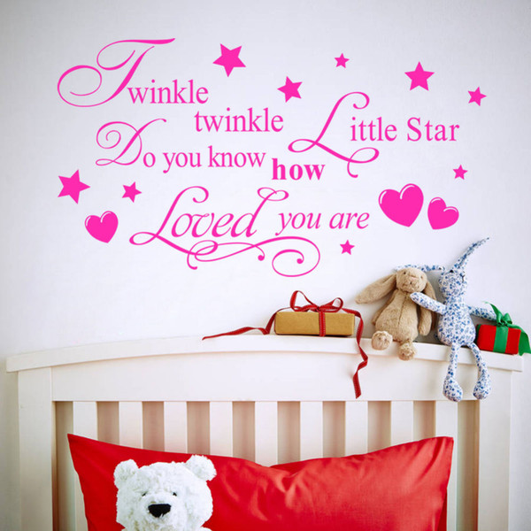 twinkle twinkle little star lettering words love kids boys girls children bedroom baby nursery vinyl wall stickers art haif