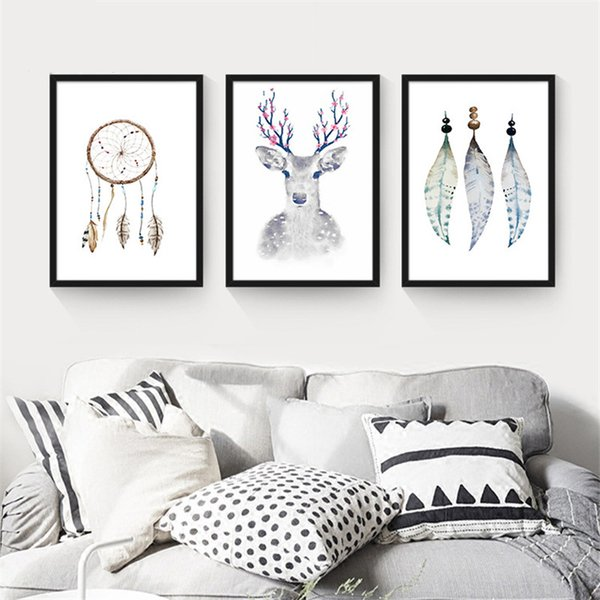 Black White Nordic Style Minimalist Houses A4 Canvas Hd Art Print Feathers Poster Wall Picture Painting Home Living Room Decor