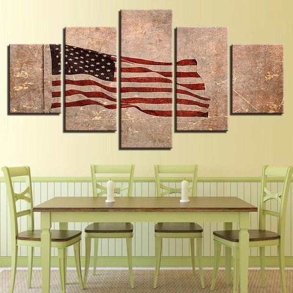 Acheter Peinture Oeuvres Modulaire Toile Image 5 Pièces Drapeau Américain  Cadre Décoration Salon Moderne HD Imprimer Wall Art Affiche De $9.17 Du ...