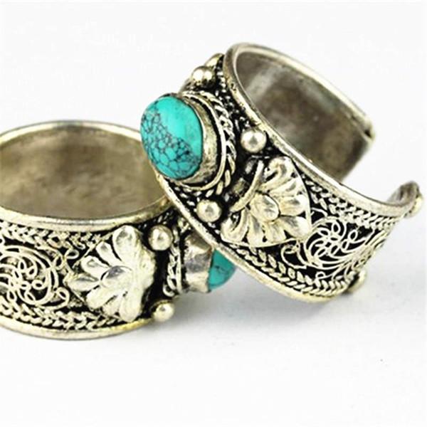 Großhandel-R180 tibetische Silber Intarsien Stein Ringe Nepal Vintage Jewely