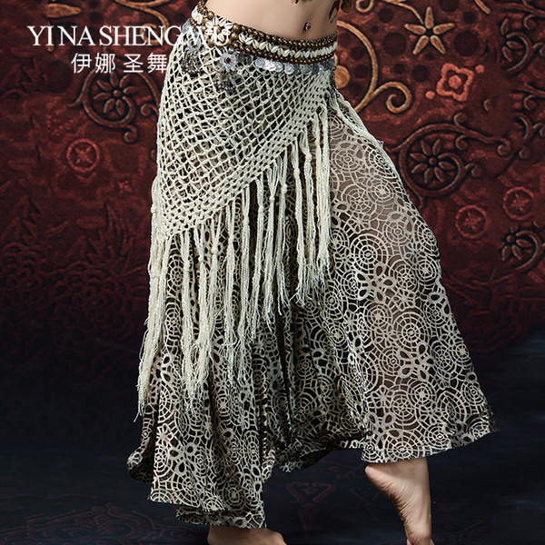 New Women Belly Dance Performance Long Fringe Tribal Hip Scarf Belly Dancing Beaded Coin Shell Belts Gypsy Costume Accessories