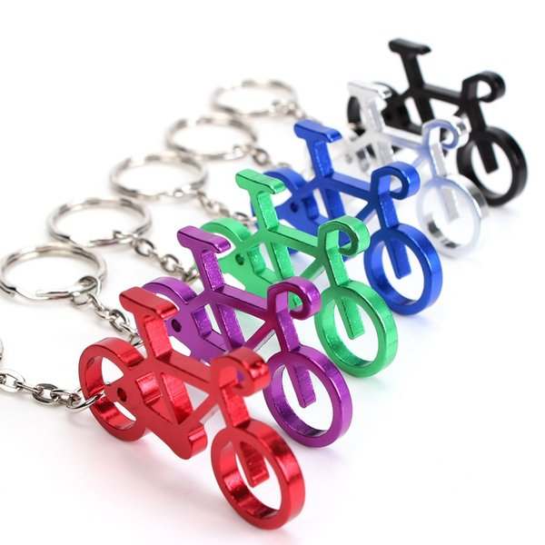 wholesale hot sale Novelty Bike Bicycle Keychain Keyring Bottle Wine Beer Opener Tool 6 Colors free shipping