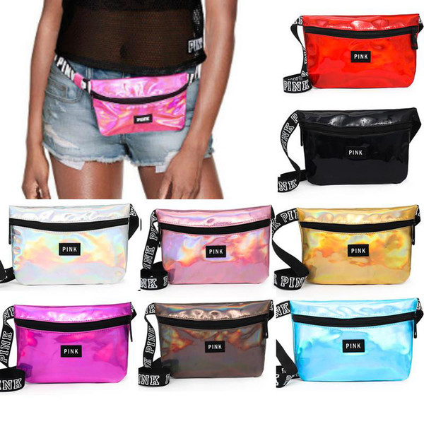 best selling 9 Colors Pink Letter Printed Laser Waist Bag PINK Rainbow Hologram Shiny Waistpacks Translucent Waterproof Beach Bags Outdoor Bags 20pcs