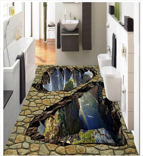 Self-adhesive 3D wallpaper customized 3D floor painting wall paper Cliff levitation mountain valley waterfall peak floor wallpaper decor