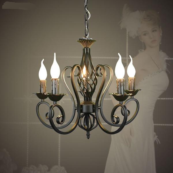 Fer forgé pendentif moderne lustre lustre millésime plafonniers bougies luminaires luminaires fer noir / blanc éclairage à la maison