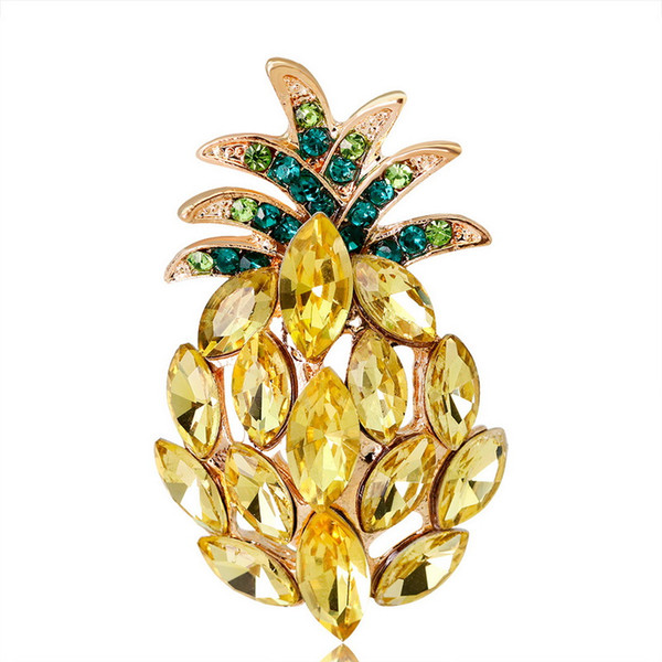 Crystal Pins and Pineapple Brooches for Women Gold Fruit Pendant Brooch L Pin Party Wedding Fashion Jewelry FREE SHIPPING
