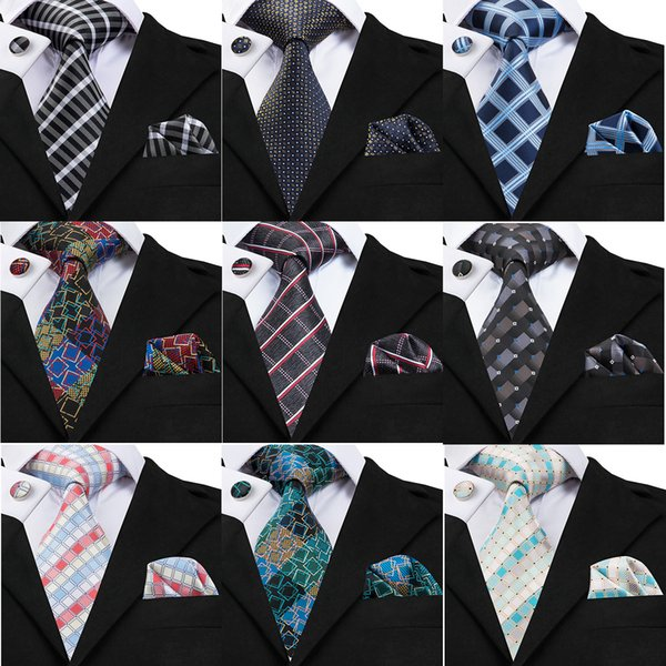 Mens Fashion Business Neck Ties Set Check PatternSilk Necktie High Quality Floral Classic Length Tie Set