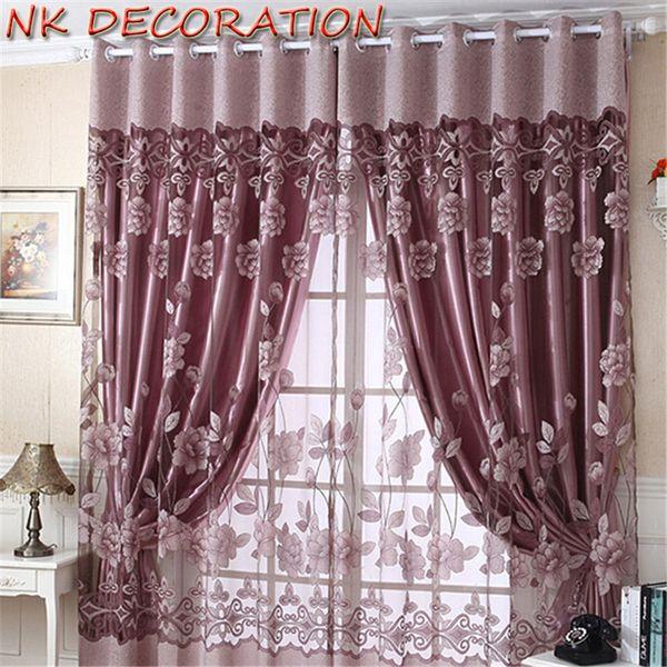 top popular DECORATION 1m*2.5m Modern Burnout Flower Tulle Window Curtain Set Of Blackout Sheer Curtain For Lliving Room Bedroom 2021