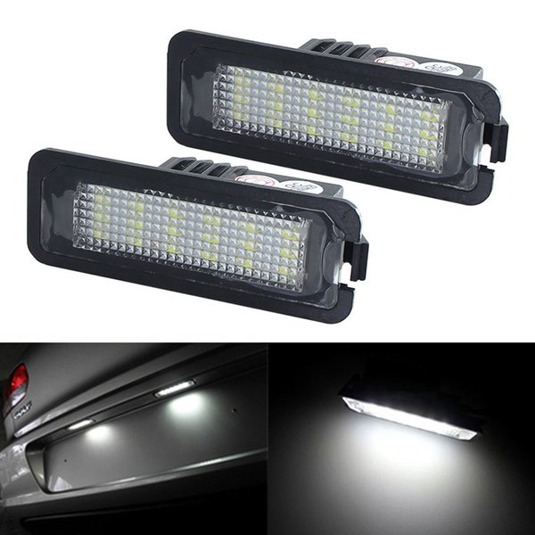 2pcs LED License Plate Light Bulb Canbus For VW Volkswagen CC Golf 4 5 6 GTI R32 Eos Rabbit Scirocco 987 White Number Plate lamp