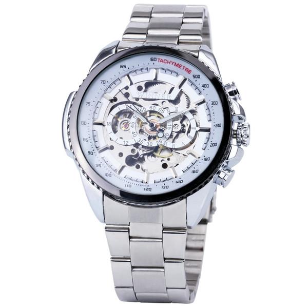 Fashion WINNER Herren Mechanicl Uhr Silber Edelstahlarmband Top-Marke Luxus Auto Skeleton Armbanduhr Männlich Business Clock