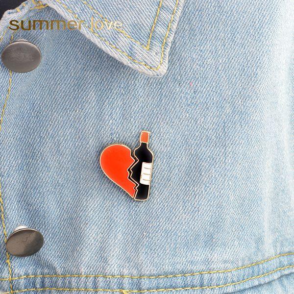 Unisex 2 unids / set Esmalte Broche Pins Set Rojo Negro Broken Heart Botella de Vino Broche de Mezclilla chaqueta Bolso Pin Insignia Moda ACC Joyería regalos