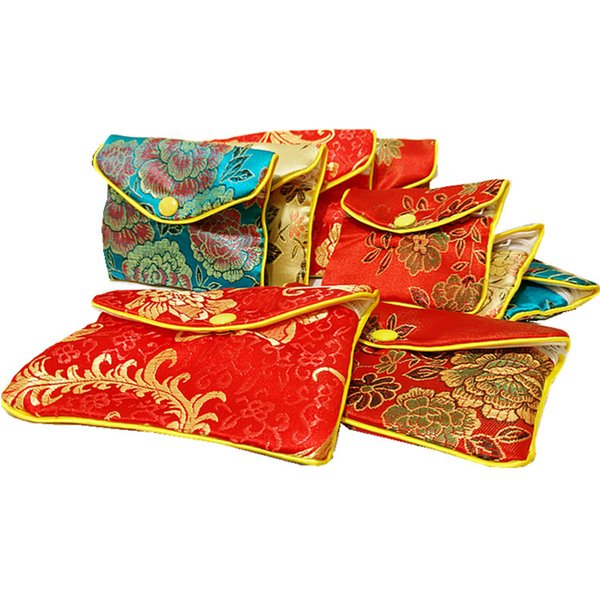 Small Zipper Coin Purse Chinese Silk Brocade Jewelry Pouch Gift Bag Women Credit Card Holder Bag Wholesale 8x10 cm 10x12 cm 12pcs/lot